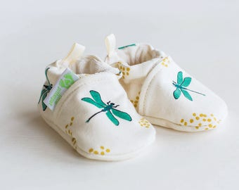 Organic Knits Vegan Dragonfly/ All Fabric Soft Sole Baby Shoes / Made to Order