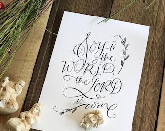 "Christmas Calligraphy Print - ""Joy to the World"""