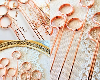 Wire Table Number Holder | DIY Swirl Round Stems Pick | Photo Flat Card Memo Pins Holders | Sign Cake Topper Copper Gold Silver Tall Long