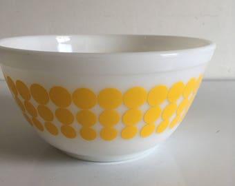 Vintage Pyrex Bowl with yellow dot pattern