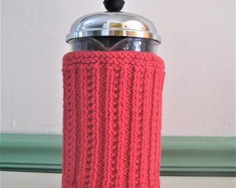 Bright Red Aran Rib Knit French Press Coffee Cozy