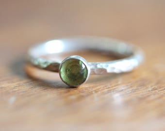 Peridot Silver Stacking Ring -  Silver Stacking Ring - sterling silver ring with green gemstone