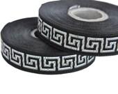 Black and Silver 15mm  Greek Key Jacquard Ribbon Trim,Supply, 1 roll 10 meters