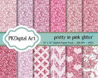 """Pink Glitter Digital Paper - """"Pretty in Pink Glitter Paper""""  Scrapbook Paper Backgrounds Design Projects Crafting Supplies"""