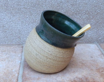Salt pig or cellar hand thrown stoneware wheelthrown ceramic handmade pottery with a bamboo spoon