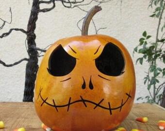 Halloween Gourd Jack Skellington Jack O Lantern Primitive Pumpkin Decoration ( inspired by Tim Burton )