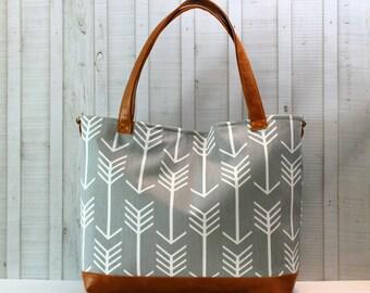 Grey Arrows with Vegan Leather -Tote Bag /  Diaper Bag - Medium / Large Bag