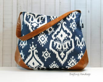 The Snoho Slouch Bag - Navy Ikat with Vegan Leather
