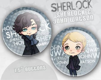 Sherlock Holmes and John Watson Buttons