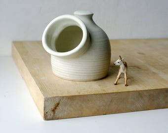 Minature pottery salt pig for your kitchen - wheel thrown and glazed in vanilla cream