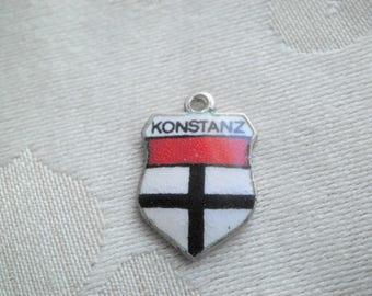 Vintage 800 Silver Enamel Konstanz Germany Travel Souvenir Shield Charm