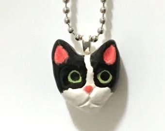 Cat Pendant Necklace, Tuxedo Cat Jewelry, Ceramic Tuxedo Cat Pendant, Cat Jewelry