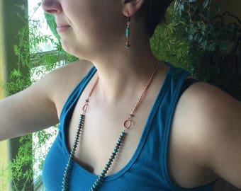 Turquoise beaded necklace on copper chain