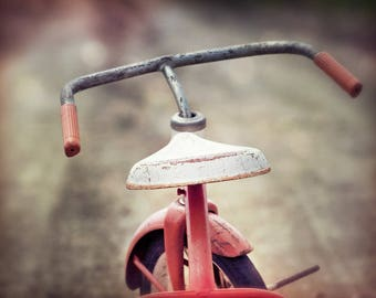 Red Racer, red tricycle, rusty, worn, dirt road, determination, Fine Art Photograph, 8x10