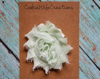 Shabby Light Mint Green Flower Hair Clip