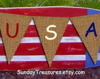 USA Burlap Banner / July 4th / Patriotic Party Decorations / Sign Garland /  Black or Red White Blue Letters / 3 Day Ship (refCban)