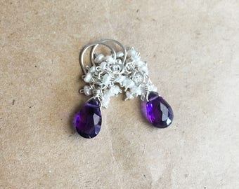 Amethyst Dangle Earrings with Pearl Clusters in Sterling Silver, February Birthstone Jewelry