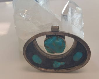 Vintage Chunky Native American Oval Pendant with Turquoise