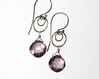 Pink Earring Pink Drop Earring Pink Briolette Earring Sterling Silver