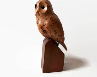 Rustic gift for man retirement gift for husband gift for dad for men birthday for him unique cottage decor housewarming owl wood carving