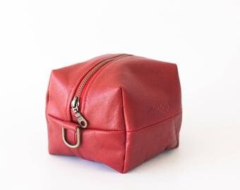 SALE Red leather makeup bag, beauty case accessory bag vanity storage utility bag beauty storage case diaper zipper pouch-Cube