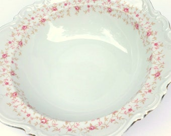 Vintage Mitterteich Bavaria,Germany,Lady Claire #018,1930s, Fancy Raised Scalloped Edge,Pink Roses withn Leaves,Dining Serving,Vegetables