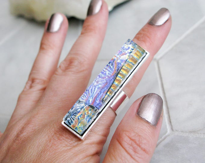 multicoloured glass statement ring, avant garde costume jewelry, gift for her, rectangle glass cocktail ring, large dichroic glass ring
