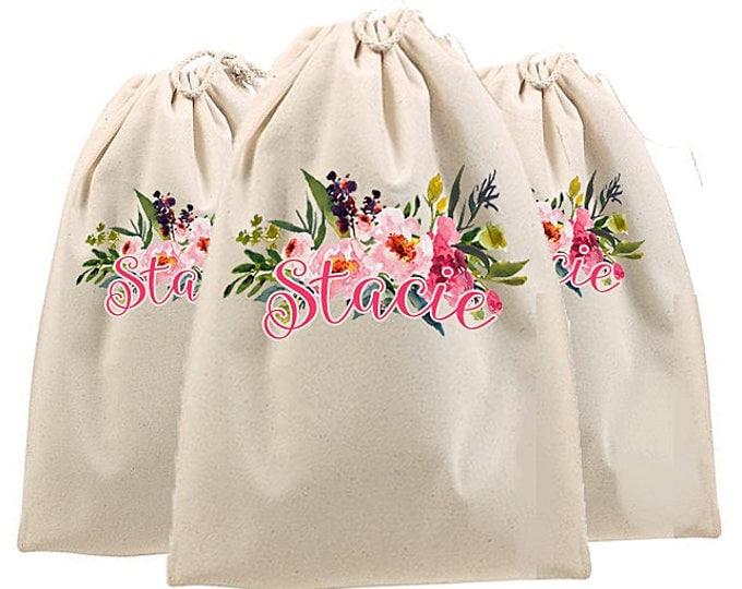 Watercolor Wedding Theme, Personalized Shoe Bag, Bridesmaid bags, bride tribe bags, bridesmaid gifts, wedding shoe bags, peonies watercolor