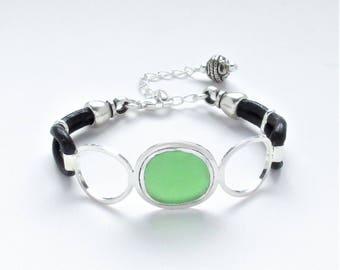 Sea Glass Jewelry - Sterling Green Sea Glass Bracelet