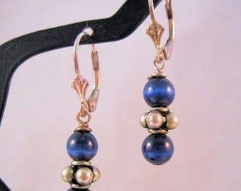 XMAS in JULY SALE Sterling Blue Cats Eye Beaded Earrings Pierced Leverback Vintage Jewelry Jewellery