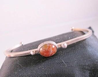 XMAS in JULY SALE 1970s Agate Sterling Silver Cuff Bracelet Vintage Jewelry Jewellery