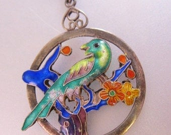 SALE & FREE SHIPPING Antique Chinese Parrot Bird Enamel Sterling Silver Pendant Necklace Two Sided