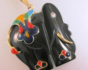 SALE & FREE SHIPPING Black Onyx Hand Carved Elephant Enamel Jeweled Pendnat Necklace Vintage Jewelry Jewellery