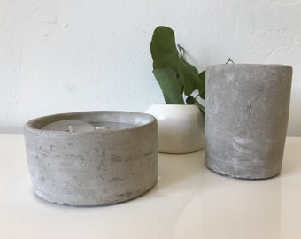 Handmade Pair of concrete candles lightly scented