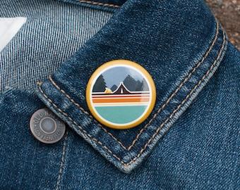CAMPING PINBACK BUTTON : Backpack Pins, Wilderness Buttons, Explorer Buttons, Adventure Pinback, Backpack Pinback, Backpack Buttons, Outdoor
