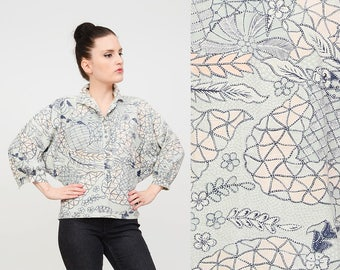 Vintage 90s Ethnic Print Shirt | Novelty BIRD Shirt | Batwing Dolman Sleeves | Cotton Button Down Boho Blouse | Beige Navy Green | Small S
