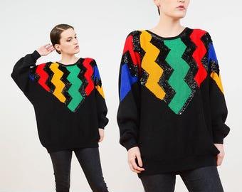 80s Black Sequin Sweater | Zig Zag Striped Sweater | Slouchy Oversize Sweater | Dolman Sleeve | Modern Artsy Cotton Ramie Jumper |  M L XL