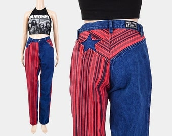 90s Jeans | Striped Denim STAR Patch Jeans | Cowgirl Western Jeans | Mid Rise 80s Mom Jeans | Straight Leg Jeans | size S M 6/8 | 34 inseam