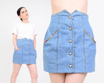 Denim Mini Skirt 80s Studded Skirt Embellished Rhinestone Skirt 1980s Blue Jean Skirt | High Waisted Skirt | Button Down Skirt | Small S
