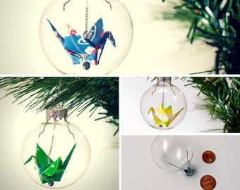 Christmas ornament / Glass ornament / Origami crane ornament / Small custom color crane ornament