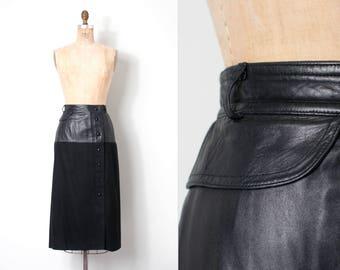 vintage 1970s skirt / 70s Escada black leather and wool skirt (medium m)
