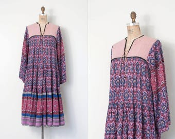 vintage 1970s dress | 70s indian cotton floral print dress | pink and purple