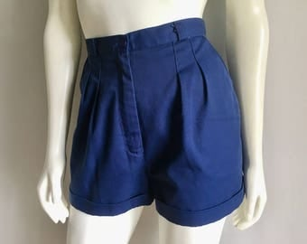 Vintage Women's 80's Nordstrom, Navy Blue Shorts, High Waisted (M)