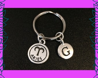 March April birthday gift, Aries zodiac birthday gift idea, personalised keyring, letter G charm key chain