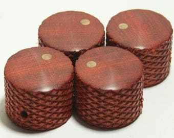 Set of 4 Knurled Bloodwood Guitar Knobs (7/8 inch dia x 11/16 height)