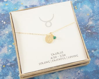 gold zodiac Taurus necklace, birthday gift, custom personalized, gift for women girl, minimalist, simple necklace, layered