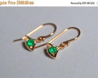 SALE Rose Gold Fan Earrings, Drop earrings, emerald earrings, Colombian Emerald, May Birthstone Earrings, 14 Kt Gold Earrings, Emerald Dangl