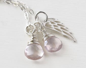 Loss of Twin Girls Necklace / Twin Girls Baby Loss Jewelry / Pink Gemstone with Silver Angel Wing / Miscarriage Condolence Gifts