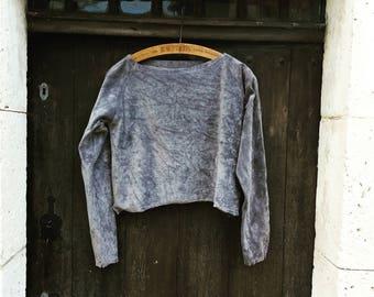 Velvet sweatshirt organic grey jumper cropped long sleeves natural dyes earthy clothing minimalist boho ethical sustainable eco grunge tops