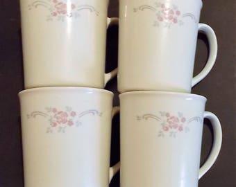 "Corningware Coffee Mugs, 4 Piece Set, Vintage, Made In USA, Microwave Safe, D Handle, 3 3/4"" High, White Coffee Cups, Drinkware, White Mugs"